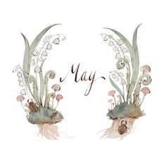Kelsey Garrity-Riley Illustration: Hello May. Mushrooms and lilly of the valley Illustrations, Bullet Journal Inspiration, Months In A Year, Painting & Drawing, Watercolor Art, Hand Lettering, Iphone Wallpaper, Creations, Artsy