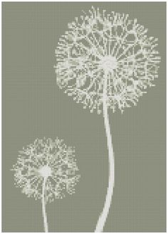 Muted Dandelions a Counted Cross Stitch by WooHooCrossStitch