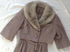 Maurice Rentner Original 50's Fur collar Suit Dress by VintageMonReve on Etsy