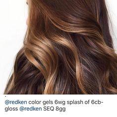 Brown Hair Color Shades, Hair Shades, Brown Hair Colors, Redken Color Gels, Redken Shades, Brown Balayage, Balayage Brunette, Hair Color Ideas For Brunettes Balayage, Hair Color Formulas