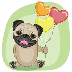 Greeting card Pug Dog with balloons Birthday Pug, Cute Birthday Wishes, Pug Life, Wallpaper Pug, Bulldogs, Pumba, Pug Christmas, Pug Art, Diy Calendar
