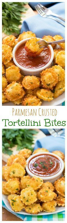 Parmesan Crusted Tortellini Bites: Parmesan crusted cheese-filled tortellini dipped in warm marinara sauce (Yummy Food Recipes) I Love Food, Good Food, Yummy Food, Tasty, Appetizers For Party, Appetizer Recipes, Italian Appetizers, Healthy Appetizers, Bite Size Appetizers