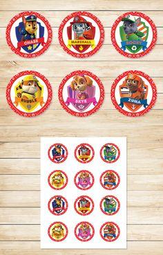 Free Paw Patrol Printables: Free Printable Paw Patrol Cupcake Toppers | Paw Patrol Stickers | Red BG Theme