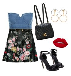 """""""Nena"""" by dasmila on Polyvore featuring Gucci, Charlotte Chesnais, Lime Crime and denimskirts"""