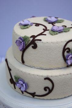 Felt Vanilla Cake w/ Lavender & Purple Violets
