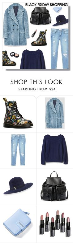"""Black Friday"" by peony-and-python ❤ liked on Polyvore featuring Dr. Martens, MANGO, Gap, Gigi Burris Millinery, Steve Madden, Bobbi Brown Cosmetics, Benefit, denim, comfy and casualoutfit"
