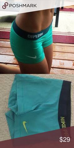 turquoise Nike Pro spandex shorts Brand new without tags. Never worn, tried on but didn't fit me. Perfect for sports and training. Rare color that is no longer sold! Nike Shorts