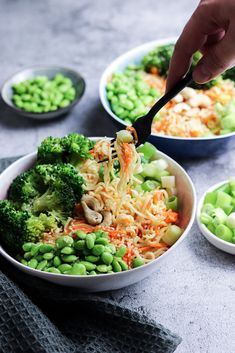 Edamame, Asian Noodles, Tasty, Yummy Food, Cake Recipes, Curry, Low Carb, Lunch, Healthy Recipes
