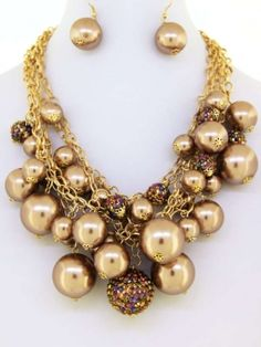 Faux Pearl And Crystal Ball Cluster Statement Set Jewelry $28