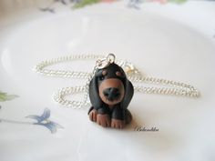 Dachshund necklace3 colors availablepolymer clay by Belundika