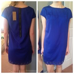 NWT Blue dress Light weight with zipper on the back. Lace on the hemline. Silky polyester blend Dresses