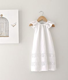 Baby Girl Long Baptism Dress-Soft Winter White Linen and Lace Fully Lined Traditional Christening Gown-Children Clothing by Chasing Mini