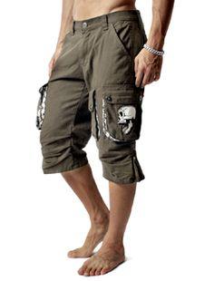 Skull Design Khaki Casual Cargo Shorts