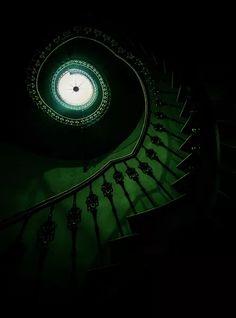 Dark Green Aesthetic, Aesthetic Colors, Dark Green Walls, Slytherin House, Hogwarts Houses, Green Pictures, Slytherin Aesthetic, Spiral Staircase, Staircases