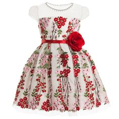 David Charles Red & Pink Embroidered Tullle Dress at Childrensalon.com