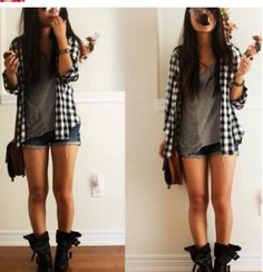 Girly Grunge. Flannel shorts and boots. Comfy cute.
