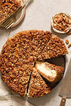 You'll go nuts for a heavenly slice of Pecan Pie Cheesecake with a homemade pecan graham cracker crust that combines two classic desserts into one sinful bite. | Chocolate Moosey