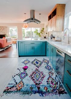 Teal Counters with Southwest rug