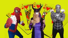 Spideman And Maleficent The Card Game /w Batman & Black Spiderman SuperHeroes In Real Life