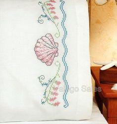 Janlynn Stamped Cross Stitch Kit Pillow Cases Seashells