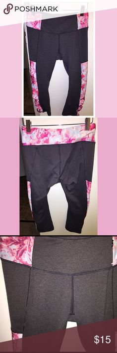 Calia by Carrie Underwood 🌹 Workout crops Size medium Calia by Carrie Underwood workout crops. Amazing quality workout gear I would say up there with Lulu & Nike. Gray with pink roses/floral design. The cutest ever just too small, maybe worn twice if that :( have a couple loose strings, shown in photo. Great condition, no pilling between thighs! 🌹🌹❤️💗🌹🌹 CALIA by Carrie Underwood Pants Ankle & Cropped