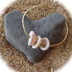 Maui Puka Shell Bangle Gold Hammered Bracelet by HanaMauiCreations, $60.00