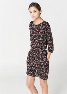 Robe fluide à imprimé floral - Femme - MANGO