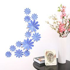 Amaonm 24 PCS Cute 3D DIY Flowers Wall Decals Removale Home art Decor Flowers Wall Stickers Murals for Kids Girls room Bedroom Weeding party Birthday Shop Windows Decorations Blue *** You can get more details by clicking on the image.