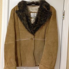 Genuine Sub Zero Leather Jacket Lite caramel leather jacket with a fur inside and neck. In great condition. Jackets & Coats