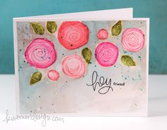 Distress Ink Watercoloring with Stamps.Love!