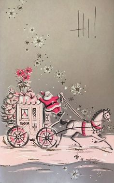 Vintage Mid Century Glittered Christmas Card Santa In Pink Stagecoach Vintage Pink Christmas, Pink Christmas Tree, Old Christmas, Christmas Scenes, Vintage Holiday, Illustration Noel, Christmas Illustration, Illustrations, Religious Christmas Cards