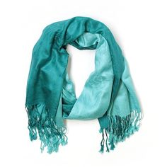 Pre-owned Pashmina Cashmere Scarf Size 00: Teal Women's Accessories ($18) ❤ liked on Polyvore featuring accessories, scarves, teal, cashmere shawl, teal shawl, teal scarves and cashmere scarves