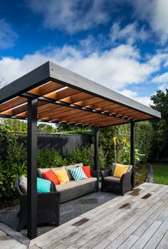 Pergola with Tin Roof . Pergola with Tin Roof . Die 599 Besten Bilder Von Terrasse In 2020 Pergola Canopy, Pergola With Roof, Outdoor Pergola, Backyard Pergola, Pergola Shade, Patio Roof, Backyard Landscaping, Outdoor Spaces, Outdoor Living