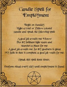 Book of Shadows: Candle Spell For Employment