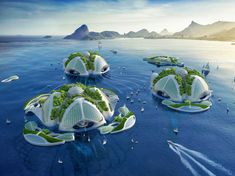 An architect has released stunning new designs for futuristic self-sustaining floating cities. Designed by Vincent Callebaut, 'Aequorea' is an underwater farm, recycling oceanic pollution into building materials to sustain the city. Futuristic Architecture, Amazing Architecture, Floating Architecture, Vincent Callebaut, Image Paris, Underwater City, Paris Match, Architect Design, Monuments