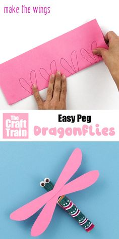 Peg dragonflies Make cute and easy dragonflies from wooden pegs (or clothespins). This is a fun Summer or Spring craft kids will love, keep them busy this weekend! Printable wing template available. Animal Crafts For Kids, Spring Crafts For Kids, Easy Crafts For Kids, Craft Activities For Kids, Summer Crafts, Craft Kids, Quick Crafts, Dragon Fly Craft, Diy Ostern