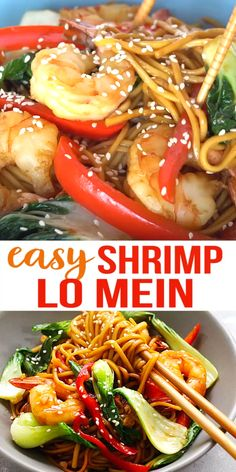 Shrimp Lo Mein - The most delicious recipe ever made with Simply Asia Chinese Style Lo Mein Noodles and topped with shrimp it's better than restaurants! Asian Noodle Recipes, Fish Recipes, Seafood Recipes, Asian Recipes, Chicken Recipes, Recipies, Easy Family Dinners, Easy Healthy Dinners, Healthy Dinner Recipes