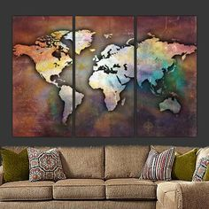 Earth Tone Push Pin Travel Map of World