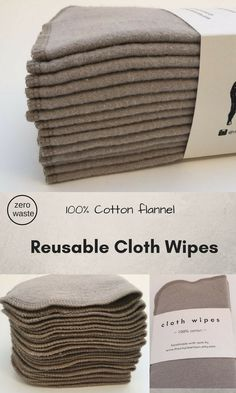 Strong, Absorbent, Reusable, Eco-Friendly 100% Cotton Flannel Wipes. Set of 12 or 30 Taupe. Great as gift or for your own eco-friendly or zero waste home. #ecofriendly #zerowaste #cottonflannel #afflink