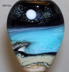WSTGA~HIDDEN COVE~SEA OCEAN BEACH MOON handmade lampwork glass bead focal