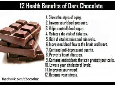 benefits of dark chocolate. If those aren't good enough excuses to eat dark chocolate then idk what is :)