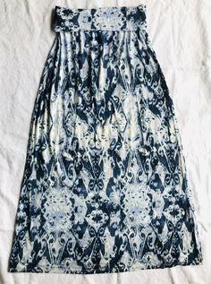 85761c9b8 Cynthia Rowley Women Jersery Boho Maxi Skirt Bandeau Dress Medium Aztec  Blue A1 #fashion #