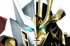 Drift G1 on the left in white, Age Of Extinction on the right in gold. Both totally awesome designs.