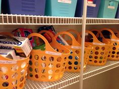 Organize the pantry with dollar store bins.