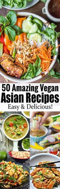 These 50 vegan Asian recipes will definitely make you drool! They all make such an amazing vegan dinner and are packed with flavor! The roundup includes vegan pad thai, fried rice, curries, summer rolls, and so much more! Find more vegetarian recipes at veganheaven.org !