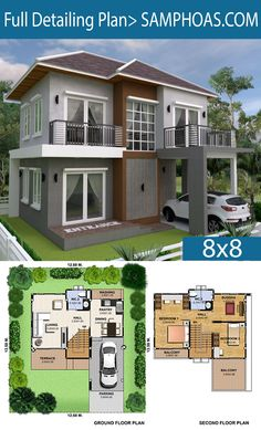 3 Bedrooms Home Plan This villa is modeling by SAM-ARCHITECT With 2 stories level. 3 Bedrooms House description: The House has 1 Cars Parking and garden Ground Level: -Living room -Dining room -Kitchen and Bar Two Storey House Plans, 2 Storey House Design, Small House Design, Modern House Design, The Plan, How To Plan, Home Design Floor Plans, House Floor Plans, Modern House Plans