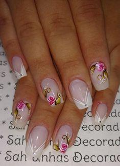 26 Modelos de Unhas Decoradas com Rosas Flower Nail Designs, Nail Art Designs, White Manicure, Pretty Toe Nails, Best Fails, French Tip Nails, Short Nails, Beauty Nails, Nail Care