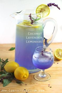 Coconut Lavender Lemonade  Ingredients:  •1 1/2 cups fresh squeezed lemon juice, from about 9 lemons •1 3/4 cups sugar •8 cups coconut water •4 cups water •1/2 recipe Lavender Simple Syrup (recipe follows)  Directions: 1.Place lemon juice, sugar, coconut water, and water into a pitcher and shake or stir vigorously until all the sugar is dissolved. I prefer to shake because it aerates the lemonade and makes a nice head on top. 2.Pour 1/2 of the lavender syrup into the pitcher and stir. You…