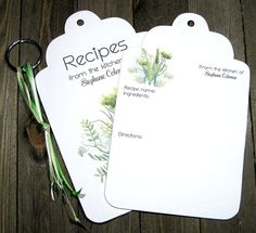 20 Green Herbs Jumbo Tag Recipe Cards - Personalized - Printed - Recipe Book - Kitchen Art - Foodie - Bridal Shower - Housewarming Gift