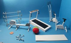 12th dolls house miniature realistic selection of 8 gym equipment  (NOT REAL).